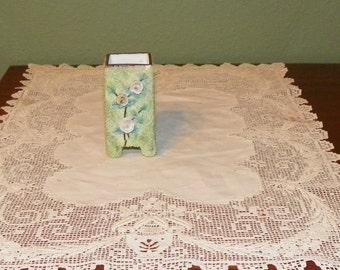 Antique Elfin Ware Mossware TOOTHPICK Holder Cream Roses Encrusted German Porcelain