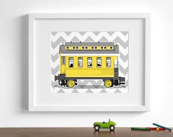 Train nursery art - Vintage Train wall art - passenger car - pick your colors - childrens wall art railroad locomotive art