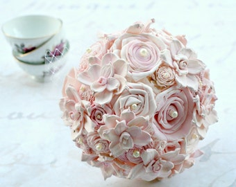 Wedding Bouquet - Blush, Pink // Bridal Bouquet, Sola Flower, Fabric Flower, Wedding Flowers, Bridal Flowers, Fabric Bouquet, Sola Bouquet