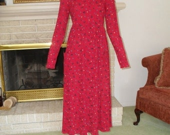 Dress Prairie Folk Dress Bust 35 to 38 Long Sleeve Size Small Round Neck Vintage Berry Color Dress