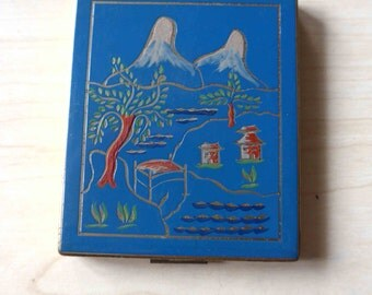 Amazing 1940s French Vintage Compact Powder Case and Mirror, Blue Enamel with Japanese Landscape