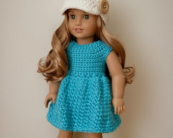 The Lucy Dress, Newsboy Hat and Rosette Crochet Patterns- 18 inch doll crochet patterns