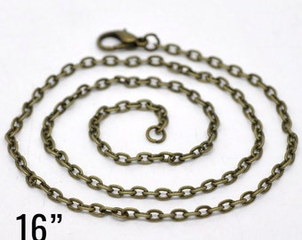 "100 Bronze Necklaces - WHOLESALE - Antique - 4x3mm - Flat Link - 16""  - Ships IMMEDIATELY from California - CH704d"
