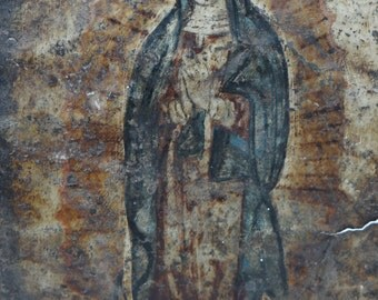 Antique Mexican Retablo Painting, Our Lady of Guadalupe, Virgin Mary, Madonna