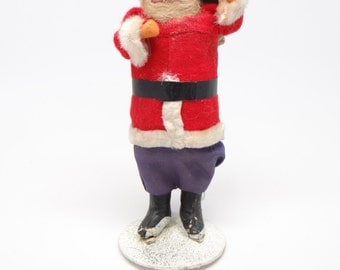 Vintage 1940's 7 Inch SANTA With Hand Painted Clay Face, Christmas