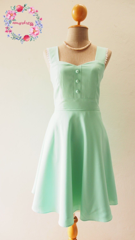 Mint green vintage bridesmaid dresses