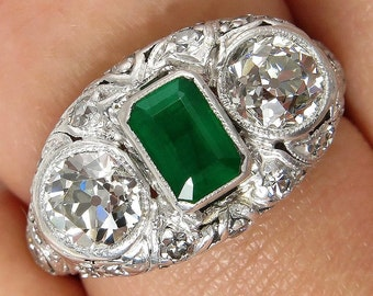 Art Deco Antique Vintage 2.72ct Green Emerald and OLD Euro Diamond Engagement Anniversary Platinum Ring