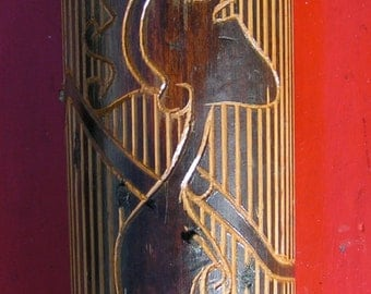 70s 80s Vintage Rainstick Percussion Musical Instrument Carved Bamboo Leather and Cord