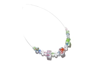 Murano Millefiori Cube Necklace, Colorful Glass Necklace, Illusion Necklace, Clear Cube Necklace, Sterling Silver Necklace, 16 Inch, For Her