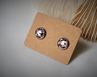 SWAROVSKI Pink Vintage Rose  (319) with Stainless Steel Stud Earring ~ 8 mm- Girls / Casual / Elegant