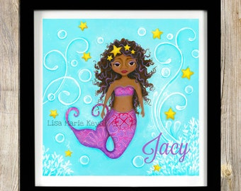 Personalized Mermaid Wall Art Black Mermaid Childrens Wall Art Bathroom Decor Nautical Beach House African American Wall Art Girls Art Print