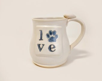 Love Pet Ceramic Mug, Love Paw Print Coffee Cup