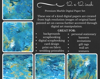 Caribbean Dreams Premium Digital Paper Pack Marble Blue White Yellow Printable Paper Download Scrapbooking Paper Abstract Design CDEV17