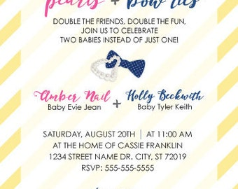 Pearls and Bow Ties Double Baby Shower (PDF)