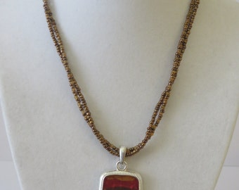 Vintage Beaded  Strands Necklace with Pendant Marked KC