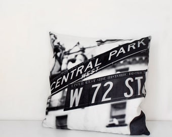 New York pillow cover, Central Park West street sign, black and white home decor, The Dakota, gift idea