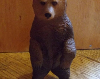 Miniature Grizzly bear / Small Terrarium Supply / Diorama / Mini Animals / wildlife / altered art / assemblage supplies / brown bear