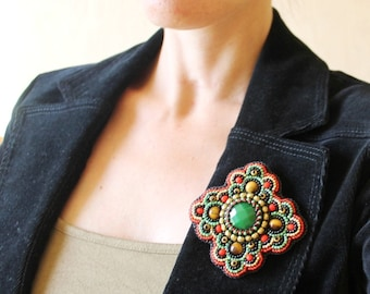 Beadwork Brooch Green Gold Black Red Brooch Bead embroidered Brooch Cabochon Brooch Bead embroidery jewelry Boho Ethnic Jewelry