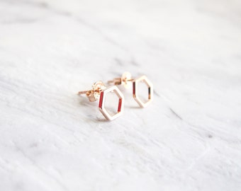 IN STOCK! Hexagon Cut Out Rose Gold Plated Stud Earrings Dainty Tiny Minimal Honeycomb