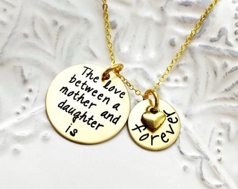 """Mother's Day   Stamped Custom """"The Love Between a Mother And Daughter is Forever"""" Nu-Gold Necklace - Engraved Jewelry"""
