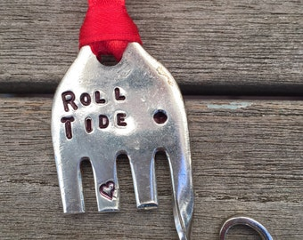 ROLL TIDE Elephant Ornament small Made from FORK silver plate Red Ribbon stamped