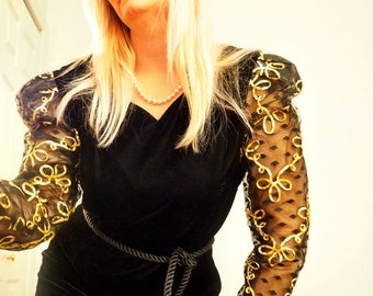 SUMMER SWOON CLEARANCE!!  Vintage 1980s Velvet Dress with Sheer Princess Sleeves Gold Lace Ribbon Sweetheart Party