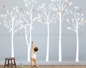 Birch Tree Wall Decal, Birch Forest and Flying Birds Wall Decal for Home Decor, Nursery, Kids or Childrens Room 005