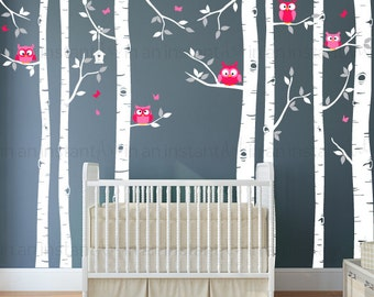 Seven Birch Tree Decal with Owls | Birch Tree Wall Decal | Baby Nursery, Children's Room Interior Designs | Easy Application 080