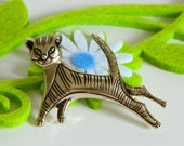 Adorable Vintage Mid Century Striped Cat Pin- Sleek Minimalist Modern 1960s Brooch Muted Gold Tone Simple Funky Animal Feline Figural