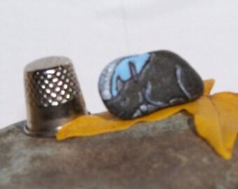 Rhino, Rhinoceros, painted rock, fairy garden miniatures, fairy garden accessories, dolls & miniatures earthspalette