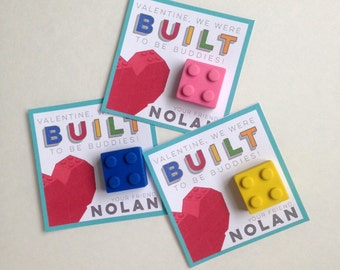 Building Block Valentines - Customized Lego Valentine - Party Supplies