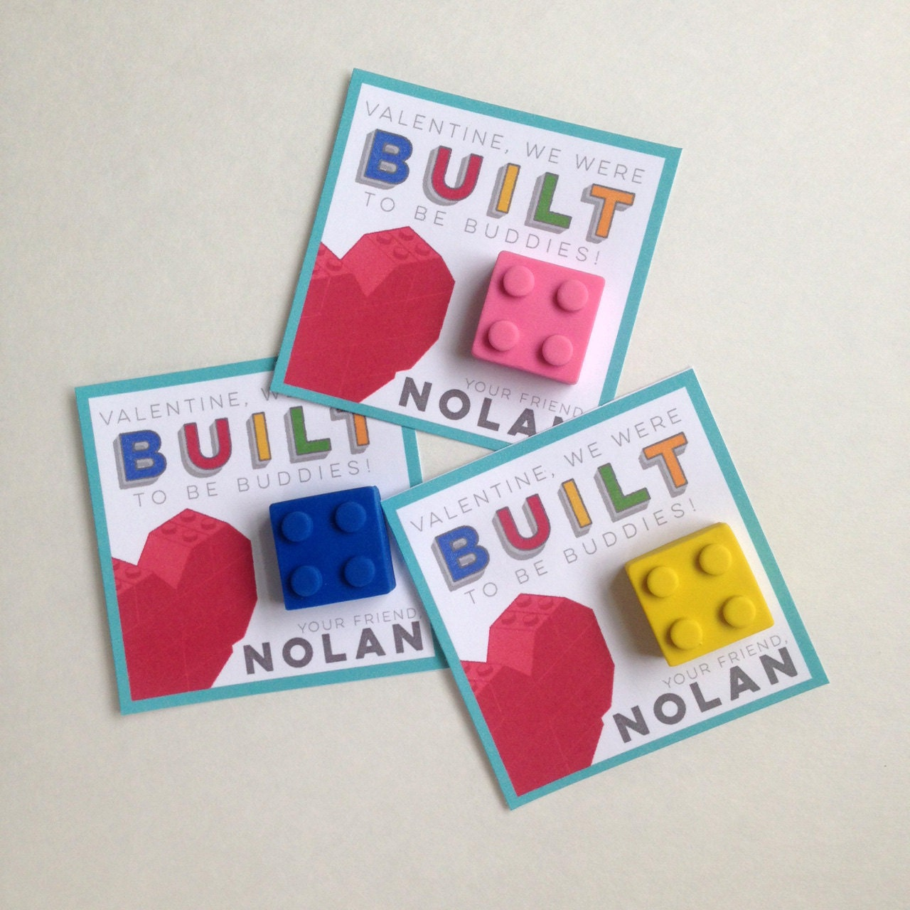 Building Block Valentines - Customized Valentine - Party Supplies