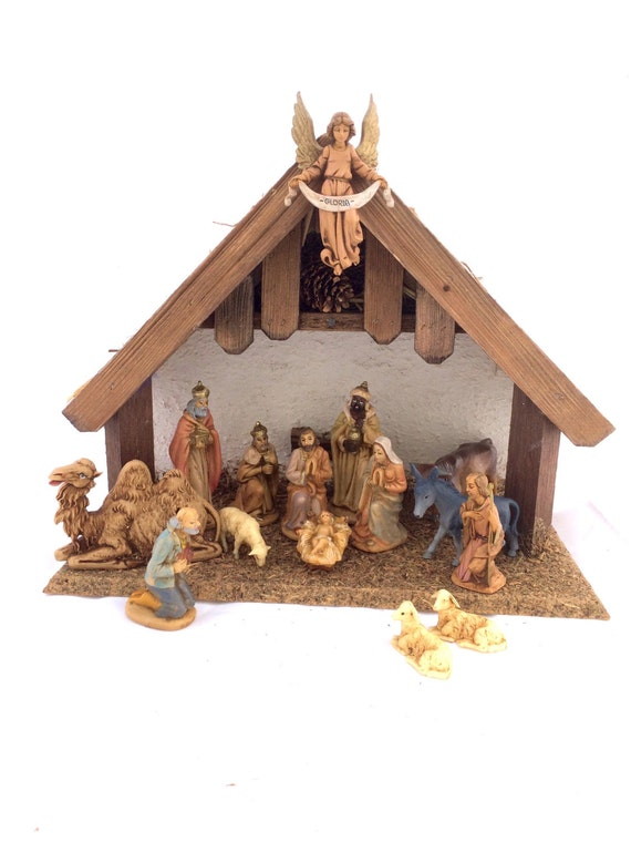 Vintage Nativity Scene Wood Manger Stable With Fontanini