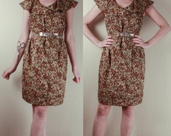 60's Brown Floral Shift DRESS // Mid Century Day Dress // Size Large