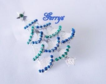 Vintage Gerrys Holiday Christmas Tree Brooch / Designer Signed / Blue Green Enamel / Green Rhinestone / Jewelry / Jewellery