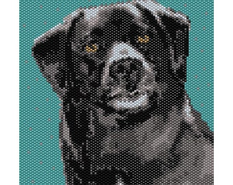 Black Dog Tapestry Peyote Bead Pattern, Seed Beading Pattern Miyuki Delica Size 11 Beads - PDF Instant Download