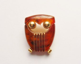 Lucite Owl Pin, Tortoise Owl Brooch, Good Luck Abstract Owl Pin