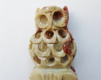 Owl with Baby Owl Inside, Jali Peruvian Soapstone Carving, Owl Within Owl Indian Scupture