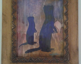 Original MEERKAT PAINTING from Africa - Painting of Mom and child meerkat and framed in hand-carved frame- African art
