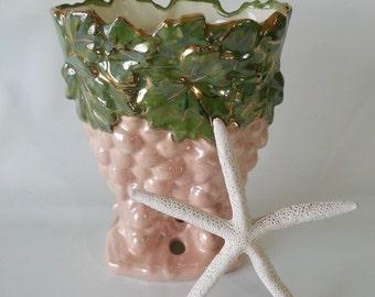 SALE!!!  Vintage McCoy-Style Ceramic Grape Clusters Vase