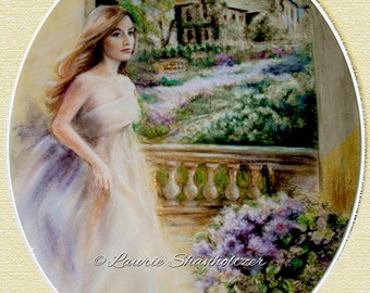 """Giclee print fine art """"Reflections in an English Garden"""" romantic landscape garden woman , Beautifully matted, 20x24 by Laurie Shanholtzer"""
