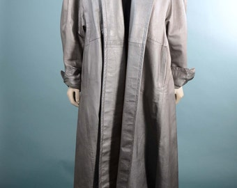 Vintage 50s Pewter Leather Swing Coat Mink Collar/ Hollywood Glam Rockabilly Full Swing Coat/ Mid Century Silver Leather Wrap Coat L/XL
