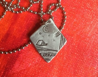 Under the Stars Heaven Unplug in Nature tent camp Hand Made Hand Stamp Metal Jewelry Pendant Not All Who Wander Are Lost