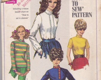 1960s High Neck Blouse Pattern Simplicity 7734 Size 10