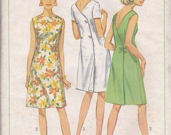 60s Back Wrap Dress Pattern Simplicity 7079 Size 12 Uncut