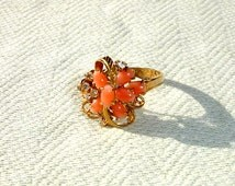 Gorgeous Coral Stone and Clear Rhinestone 18KT HGE Ring - Size 7