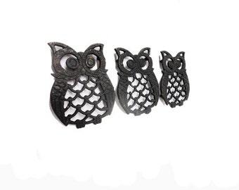 Vintage Owl Trivets - Mid Century Modern Cast Iron Owls, Black Cast Iron Owls, Retro Kitchen, Hot Pot Stand Holder, 1960's Kitchen Owls