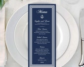 Nautical Navy, White Stripes Dinner Drink Menus with Anchor: Text-Editable in Microsoft® Word, Printable with Avery® 80505, Instant Download