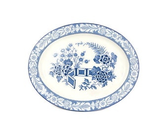 Vintage Blue and White English Platter Woods and Sons Ware Wincanton Pattern 11 inch Oval Platter Dish England