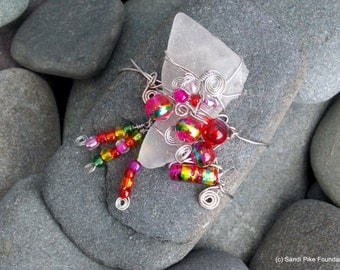 fiery red gypsy / sea glass / sea stones / wire wrapped / rock art / coffee table art / glass beads / gypsy art / boho art / hippie / spiral